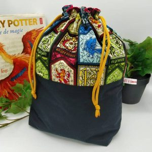 Sac à projet tricot Harry Potter tissu vitraux Poudlard
