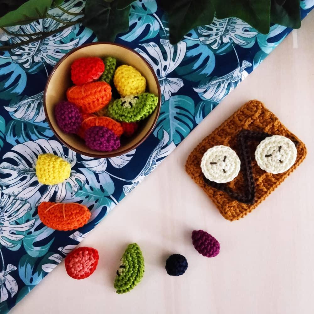 Douceurs d'été, gaufre et fruits au crochet