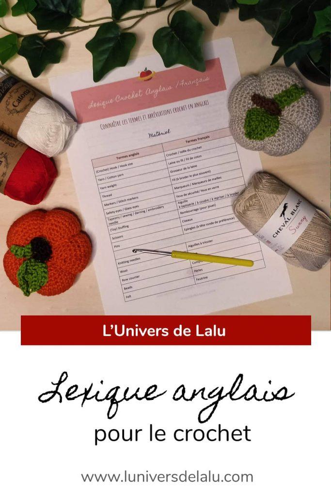 Tableaux des abréviations crochet anglais à télécharger pour apprendre à crocheter en anglais, par l'Univers de Lalu